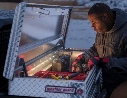 Weather Guard Lighted 127 Saddle Box Jobsite CloseUp