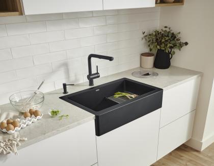black modern apron front sink
