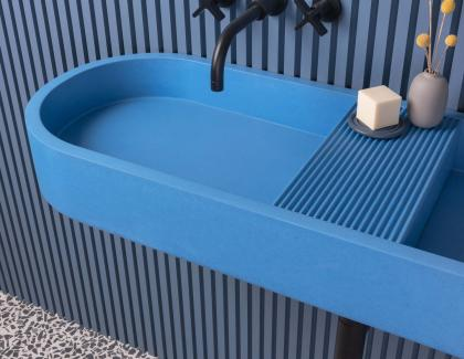 concrete blue sink