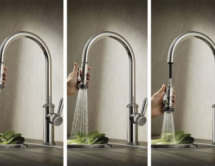 kitchen squeeze down handle faucet
