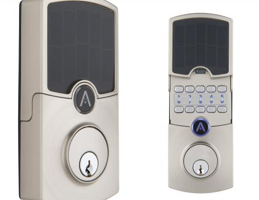 ARRAY By Hampton Cooper Satin Nickel Solar Panel Closed and Open to Show Hidden Metal Keypad