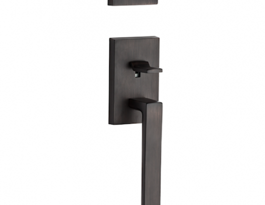 The La Jolla handleset is made from solid brass and accommodates door thicknesses from 1¾ to 2 inches. It has a five-pin C-keyway and an adjustable backset latch. It comes in four finishes—Venetian bronze, satin nickel, polished chrome, and polished nickel.