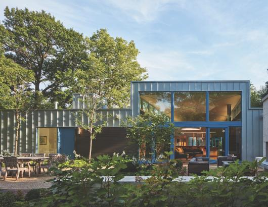 Courtyard Residence with large windows for accessibility in Chicago suburbs