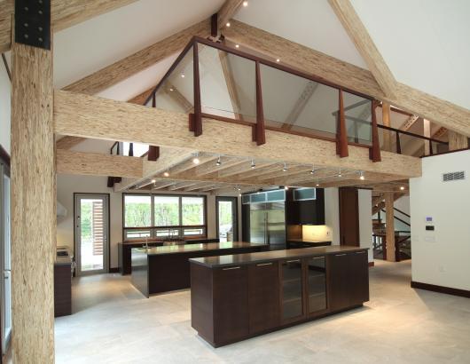 Exposed Engineered wood beams