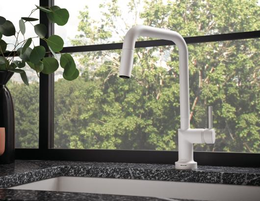 Jason Wu matte white kitchen faucet