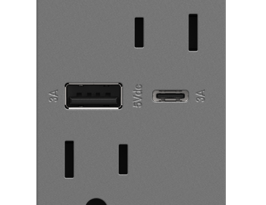 Legrand Adorne Ultra Fast USB Outlet gray