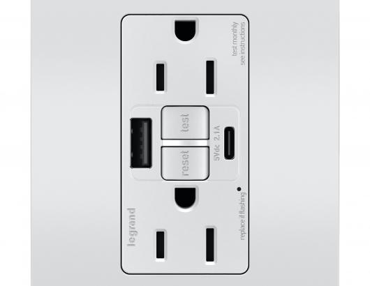 Legrand GFCI USB outlet silver