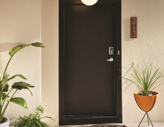 Entry way door in a rented multifamily building