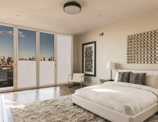 Nanawall Shades in a bedroom