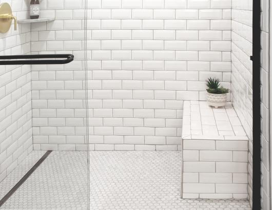 QuickDrain subway tile shower bench