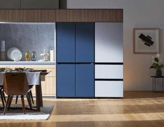 Samsung Home Appliances Prism Program BeSpoke Fridge modern kitchen blue white units