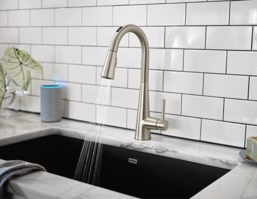U by Moen Smart Faucet in Sleek Spot Resist Stainless steel