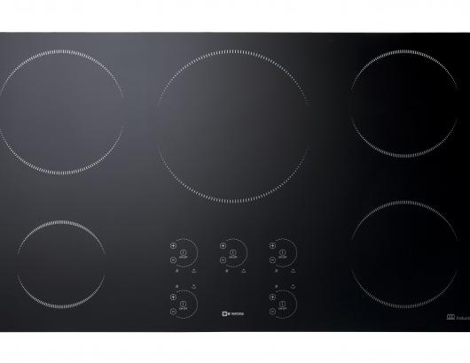This 36-inch induction unit features five cooking zones, including a fast-boil setting and a low-power setting for delicate meals. Each zone also features eight power levels plus a Boost function. Offering an overall depth of 20 7/8 inches and a width of 35 7/16 inches, it has a pan-detection system to detect the size and shape of the cookware and heat only that area, three cooling fans, and an auto shut-off in the case of spillage, incorrect pan usage or if no cookware is detected.