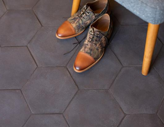 Walker Zanger Cotto Toscano Floor Hexagon With camouflage shoes