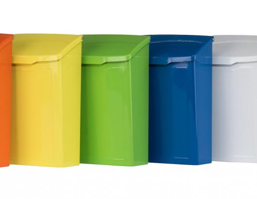 Architectural Mailboxes has launched a series of mailboxes in a range of colors that include tangerine orange, lime green, and electric blue.