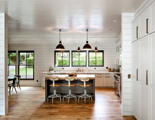 Schoolhouse Electric Supply modern farmhouse kitchen black pendants