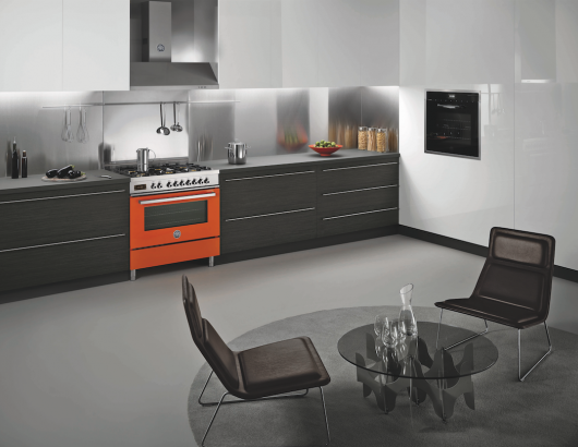Bertazzoni Orange Range in kitchen