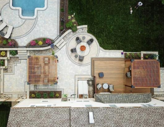 Aerial backyard outdoor living spaces Sean Collinsgru shot