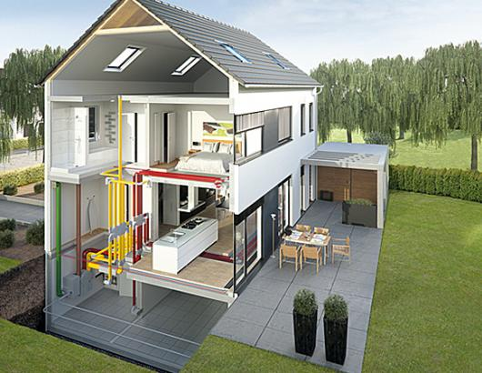 House rendering with heat recovery ventilator