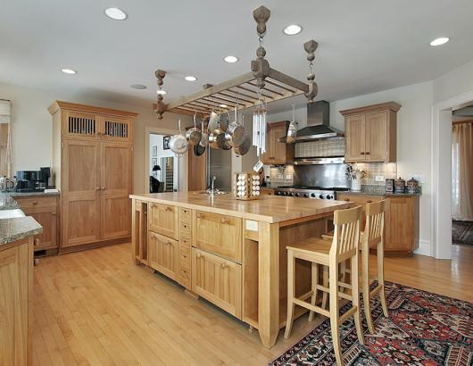 Kitchen with butcher block countertop