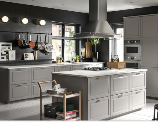 ikea Sektion Kitchen Cabinets Bodbyn Door home with Island Gray