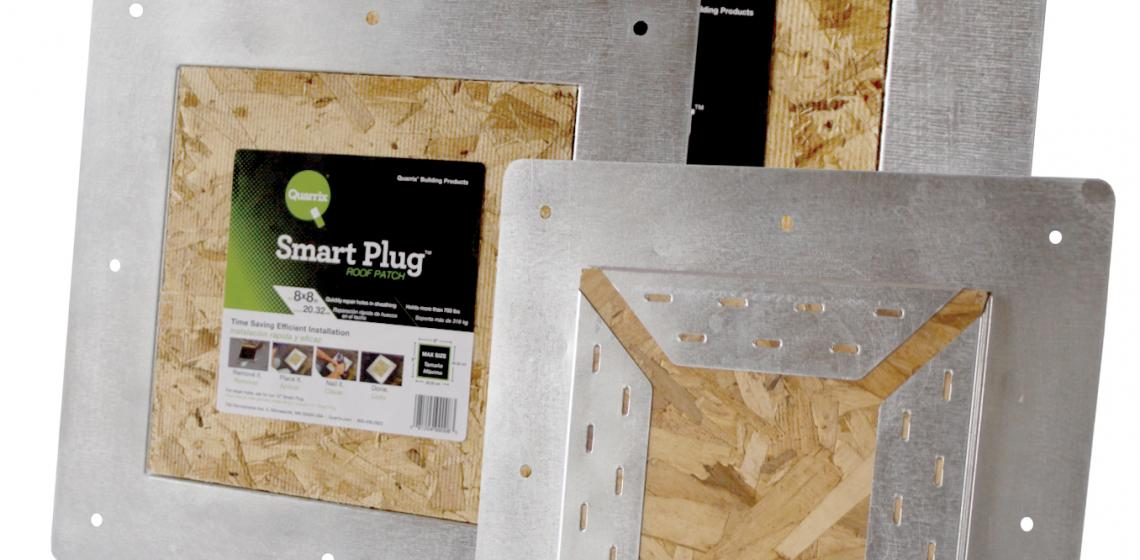 Designed for retrofit situations, Smart Plug is used when roofing installers convert static vents to ridge ventilation. The product is a strong and easy way to patch holes left by pot, slant-back, and turbine vents. Two sizes are available: 8 by 8 inch and 12 by 12 inch.