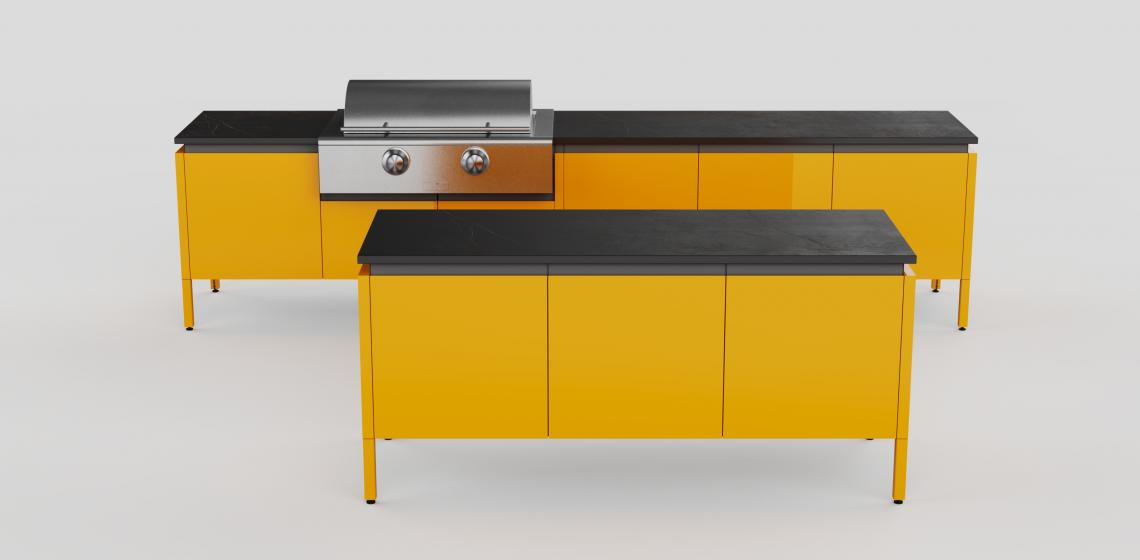 Brown Jordan Outdoor Kitchen Elements by Tecno Daniel Germani Yellow Kitchen