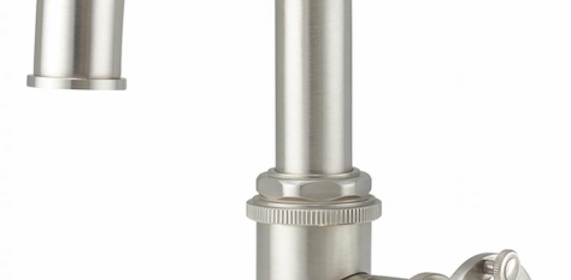 California Faucets Steampunk Bay Single Hole Wheel Handle Satin Nickel
