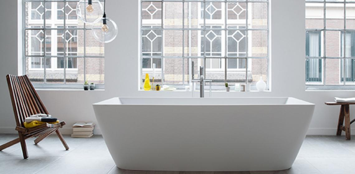 Duravit DuraSquare collection freestanding tub-room shot