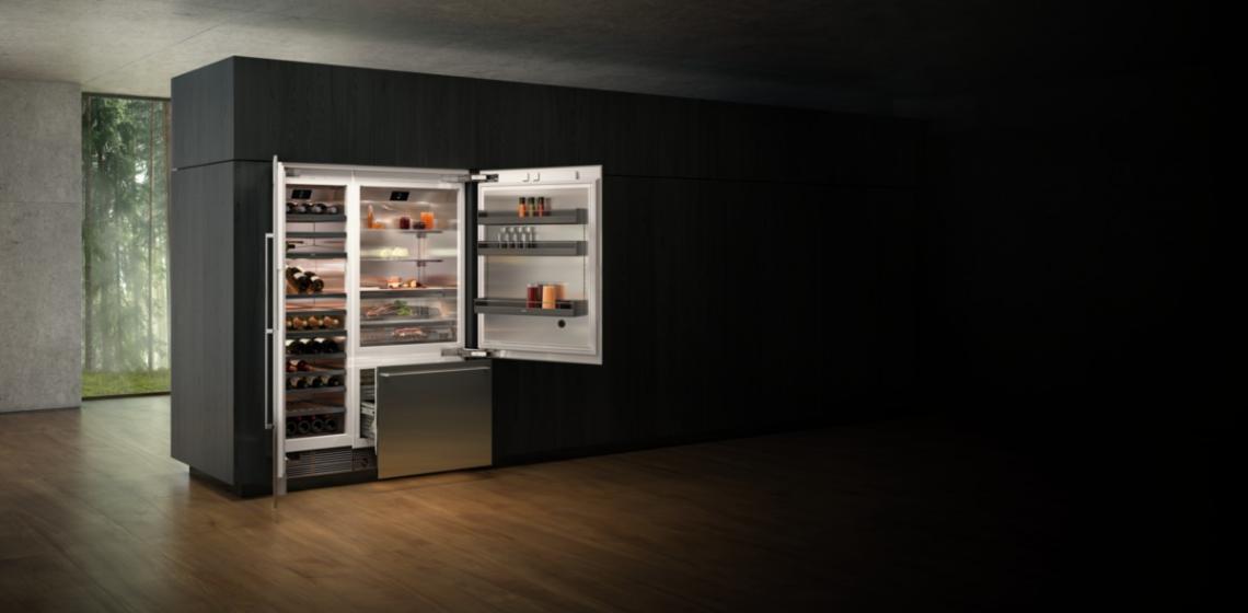 Gaggenau cooling 400 Series open Fridges in kitchen