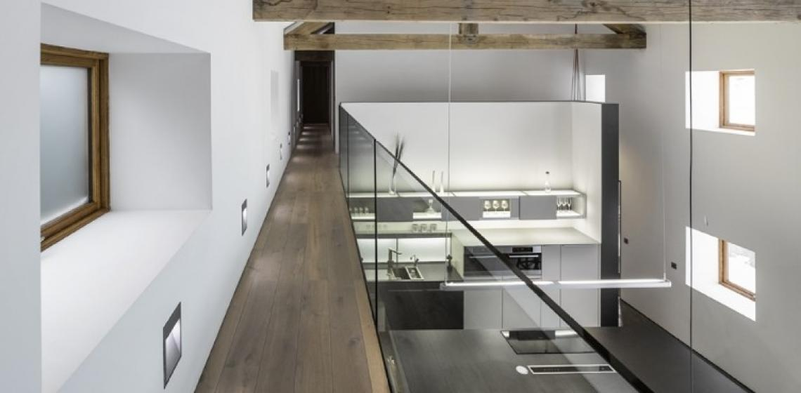 Havwoods International barn conversion smoked oak wood flooring walkway