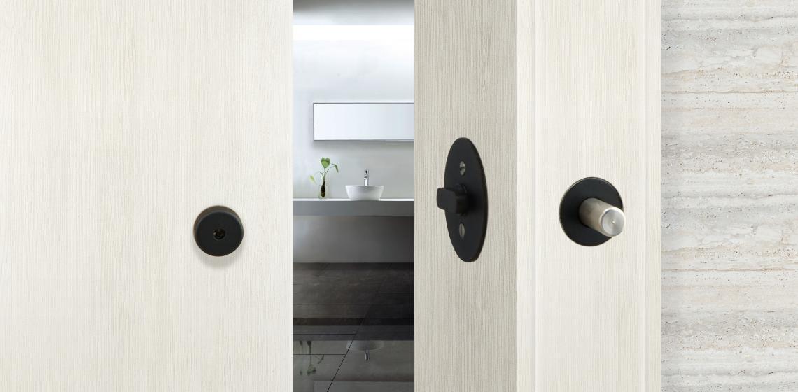 INOX Barn Door Lock black finish white door
