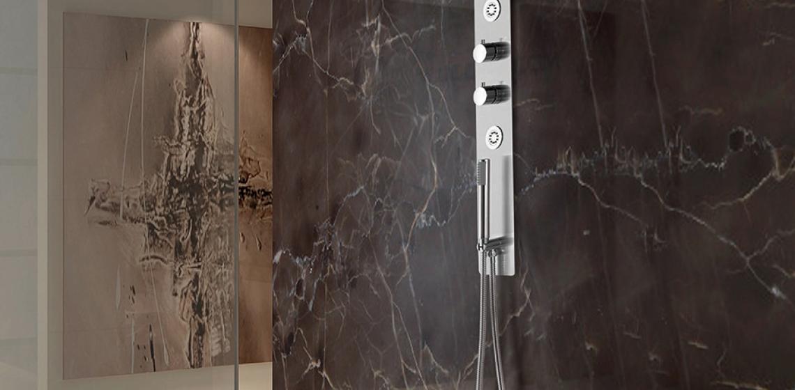 Lenova Thermostatic Pressure Balance Shower Valve Bath installation shower black marble tiles