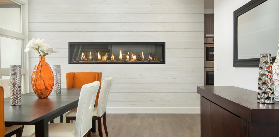 """Hearth Maker Napoleon says its new Luxuria Linear Series fireplace is a sleek contemporary unit that also boasts and """"industry-unique"""" Dynamic Heat Control and Glass Guard Systems."""