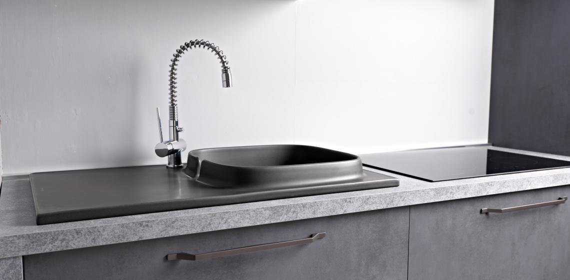Scarabeo UP ceramic gray sink