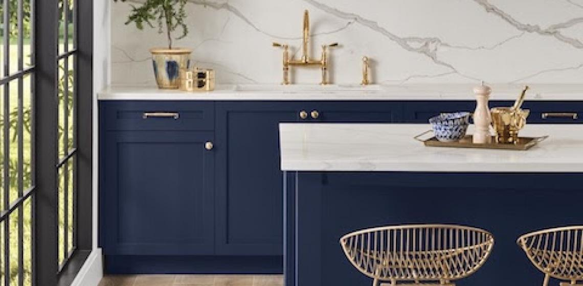 Sherwin Williams Color Survey blue kitchen cabinets brass faucets chairs