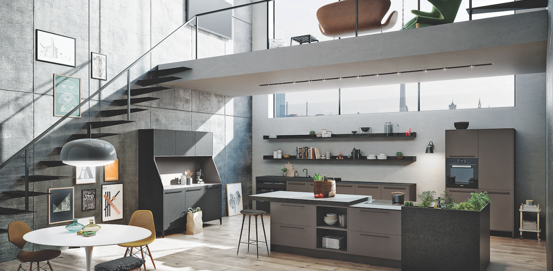 Urban themed kitchen under loft