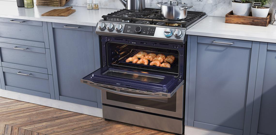 slide-in range oven with dual door