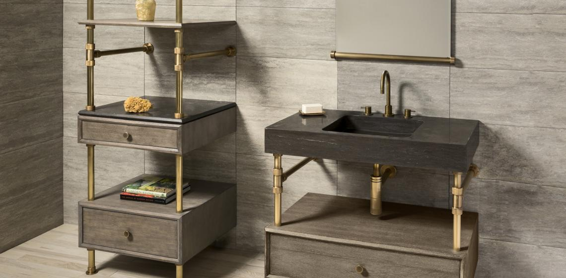 Stone Forest Sinks Elemental Collection Terra bath sink Console front angle