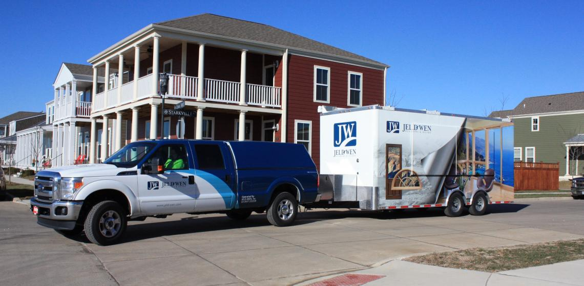 JELD-WEN truck and trailer for mobile window training