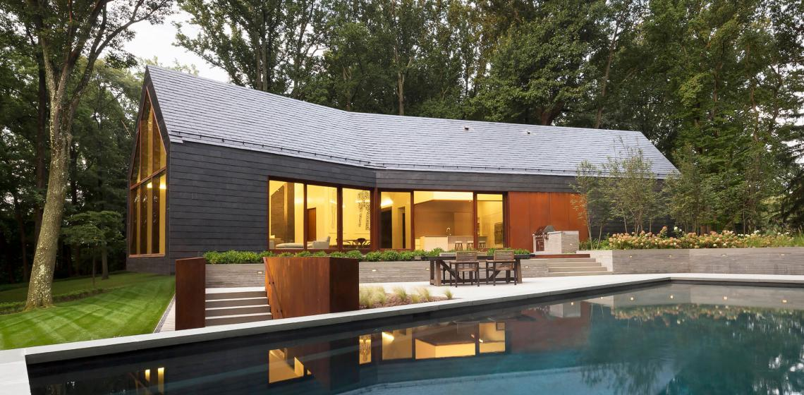 ZigerSnead Architects Baltimore Slate House Exterior pool Jennifer Hughes Photography and Adam Rouse Photography