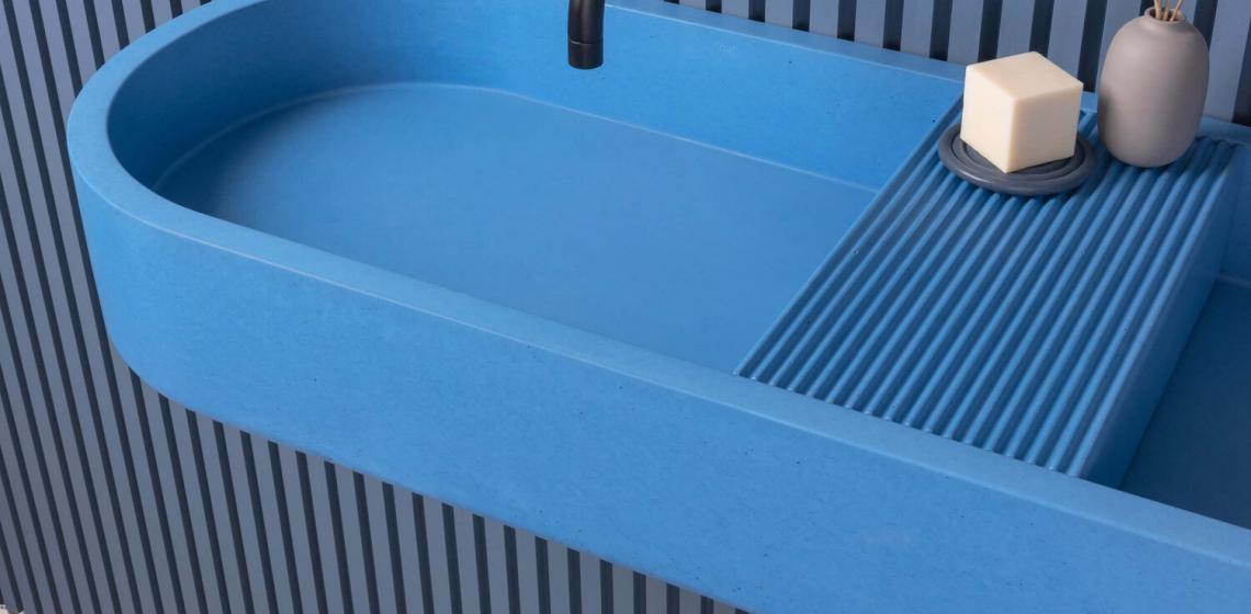 concrete blue sink