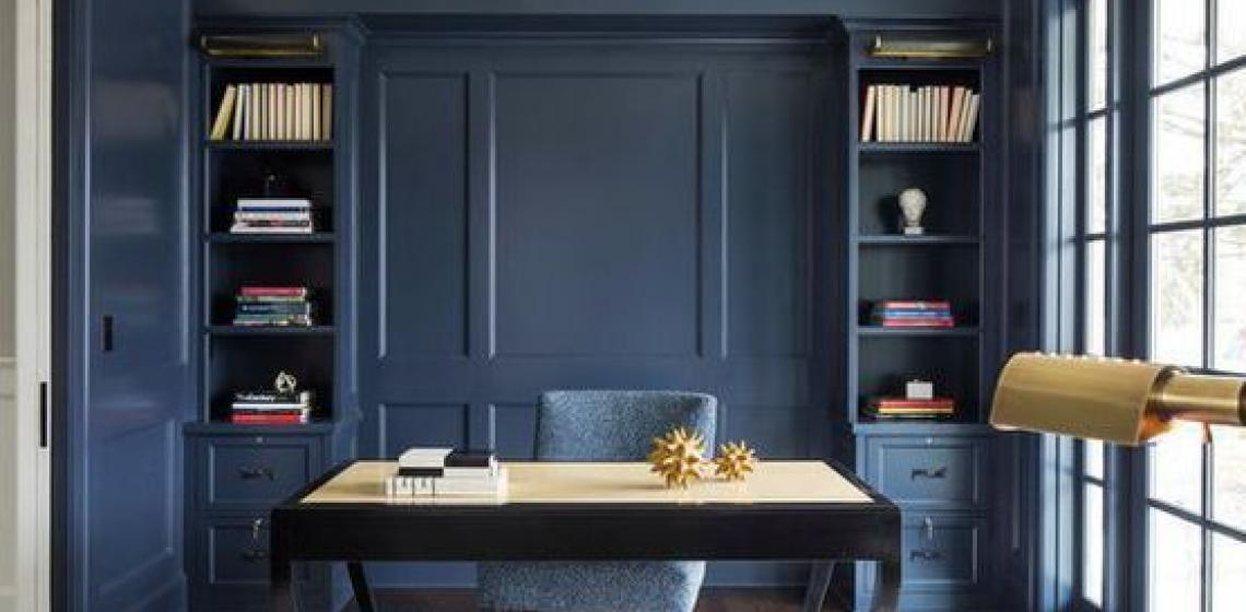 Benjamin Moore Blue Office with chair and desk