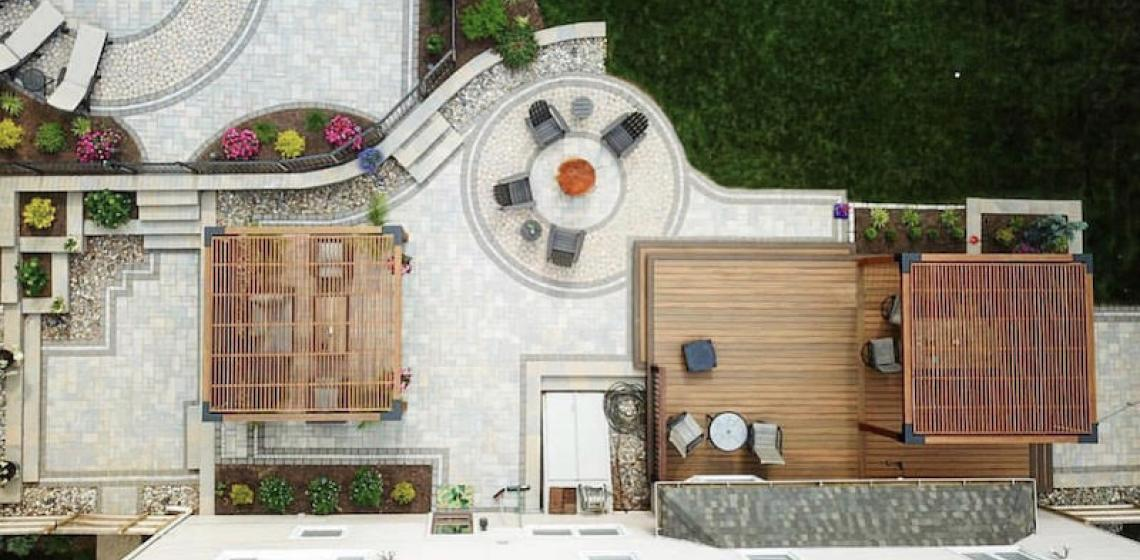 Aerial backyard outdoor living spaces Sean Collinsgru shot