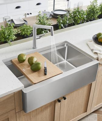 Blanco Quatrus R15 Ergon stainless steel Modern Farmhouse Sink wood cutting board