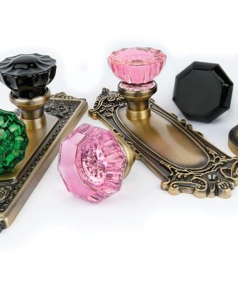 This new line of crystal doorknobs adds a bright infusion of color that lends an unexpected glamour, the manufacturer says. Offered in such hues as emerald and cobalt, the knobs are available in two of the company's most popular styles—Crystal and Waldorf—and may be mixed and matched with 12 different plates. Finishes include antique brass, antique pewter, and bright chrome.