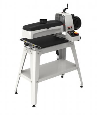 The manufacturer's expanded line of drum sanders includes the JWDS-1836, a mid-sized unit with a tool-less conveyor belt parallelism adjustment, a depth scale, and an advanced dust hood design. The tool accommodates pieces up to 36 inches wide and from 1⁄32 inch to 3 inches thick.