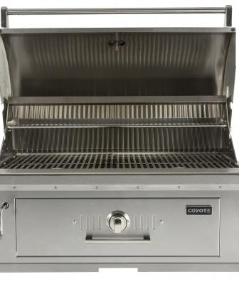 This 36-inch drop-in charcoal grill offers more than 875 square inches of cooking area and features an adjustable drop-in fuel tray that permits the grill to be powered by charcoal or wood chips. It has adjustable dampers for air-flow control and is available with an optional custom-made grill cover.