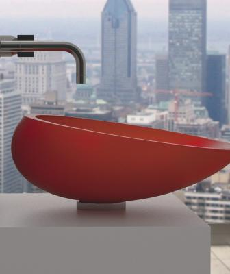 Glass Design red bath sink side view