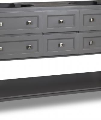 The gray Adler vanity is a transitional-style product that comes preassembled for easy installation. Available in three sizes, it offers a combination of drawers and false-front drawers and features satin nickel hardware. A white Carrara marble top and white porcelain bowl are available
